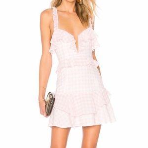 For Love & Lemons Dixie Ruffle Pink Gingham Dress